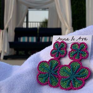 Anna & Ava Beaded Double Flower Earrings!